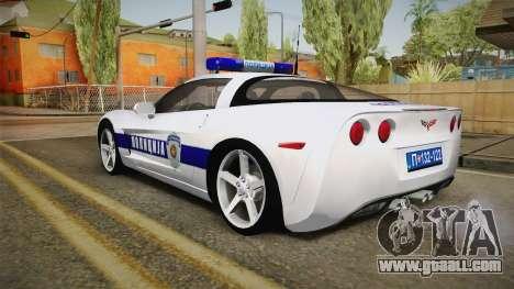 Chevrolet Corvette C6 Serbian Police for GTA San Andreas left view