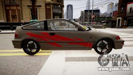 Honda CRX 1992 for GTA 4 left view
