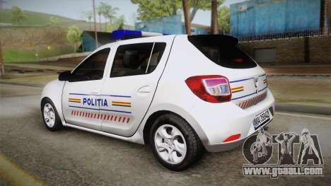 Dacia Sandero 2016 Romanian Police for GTA San Andreas left view