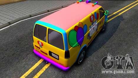 GTA V Vapid Clown Van for GTA San Andreas back view