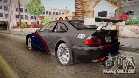 NFS: MW - BMW M3 GTR (E46) Hidden Vinyl Version for GTA San Andreas left view