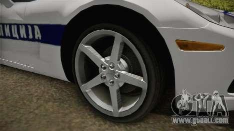Chevrolet Corvette C6 Serbian Police for GTA San Andreas back view