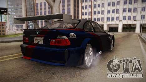 NFS: MW - BMW M3 GTR (E46) Hidden Vinyl Version for GTA San Andreas back left view