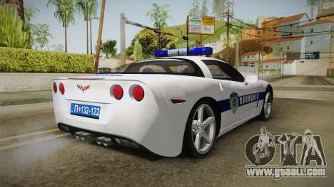 Chevrolet Corvette C6 Serbian Police for GTA San Andreas back left view