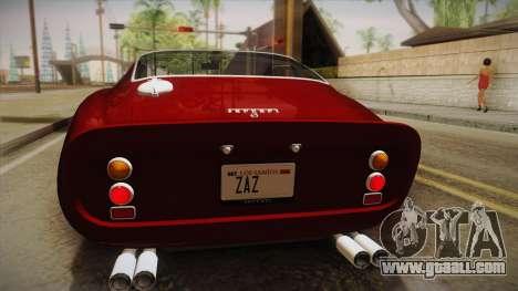 Ferrari 250 GTO (Series I) 1962 HQLM PJ1 for GTA San Andreas back view
