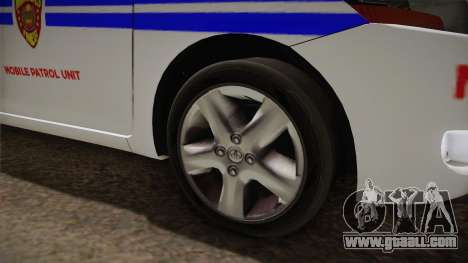 Toyota Vios Philippine Police for GTA San Andreas back view