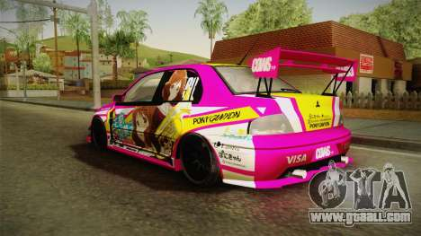 Mitsubishi Lancer Evo IX Oumae Kumiko Itasha for GTA San Andreas back left view