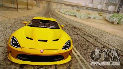 Dodge Viper SRT 2013 for GTA San Andreas back view