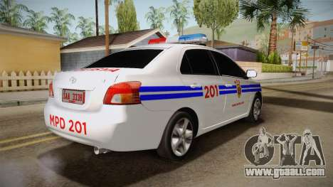 Toyota Vios Philippine Police for GTA San Andreas back left view