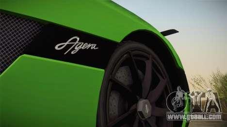 Koenigsegg Agera Color Interior for GTA San Andreas