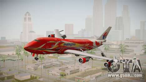 Boeing 747 Malaysia Airlines Hibiscus Livery for GTA San Andreas back left view