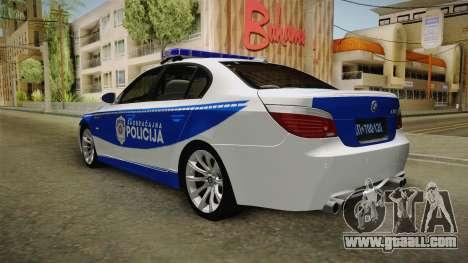 BMW M5 E60 Saobracajna Policija for GTA San Andreas back left view