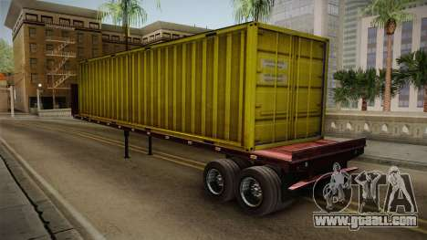 Yellow Trailer Container HD for GTA San Andreas back left view