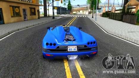 Koenigsegg CCX for GTA San Andreas back left view