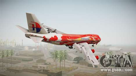 Boeing 747 Malaysia Airlines Hibiscus Livery for GTA San Andreas left view