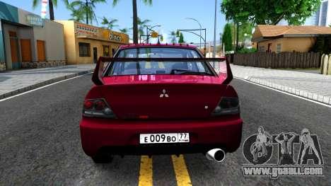 Mitsubishi Lancer Evolution IX for GTA San Andreas back left view