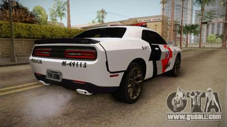 Dodge Challenger Hellcat 2012 PMSP for GTA San Andreas back left view