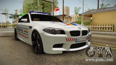 BMW M5 F10 Romanian Police for GTA San Andreas right view