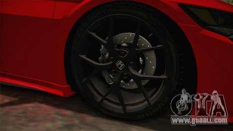 Honda NSX 2017 for GTA San Andreas back view