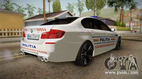 BMW M5 F10 Romanian Police for GTA San Andreas back left view