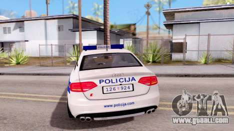 Audi S4 Croatian Police Car for GTA San Andreas back left view