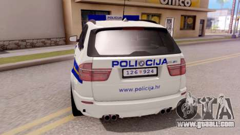 BMW X5 Croatian Police Car for GTA San Andreas back left view