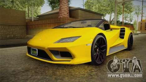 GTA 5 Pegassi Tempesta Spyder IVF for GTA San Andreas back left view