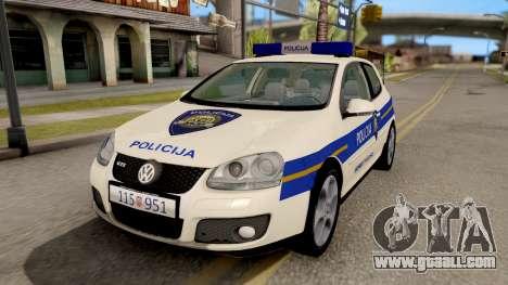 Volkswagen Golf V Croatian Police Car for GTA San Andreas