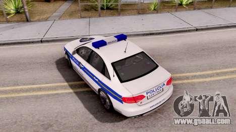 Audi S4 Croatian Police Car for GTA San Andreas back view