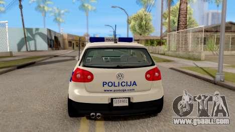 Volkswagen Golf V Croatian Police Car for GTA San Andreas back left view