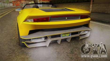 GTA 5 Pegassi Tempesta Spyder IVF for GTA San Andreas bottom view