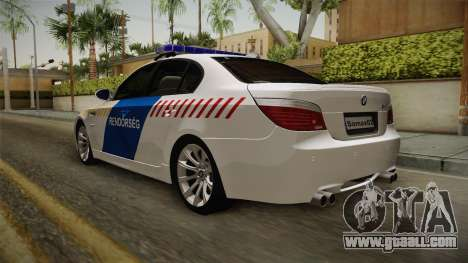 BMW M5 E60 Hungary Police for GTA San Andreas back left view