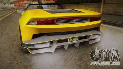 GTA 5 Pegassi Tempesta Spyder IVF for GTA San Andreas upper view