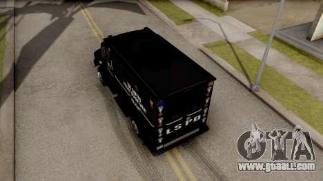 BearCat SWAT Truck for GTA San Andreas back view