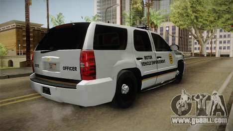 Chevrolet Tahoe 2013 Iowa State MVE for GTA San Andreas back left view