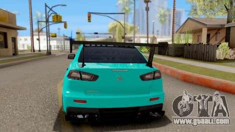 Mitsubishi Lancer Evolution X 2008 for GTA San Andreas back left view