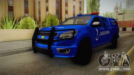 Chevrolet S10 Turkish Gendarmerie CSI Unit for GTA San Andreas back left view