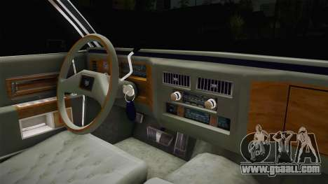 Cadillac Fleetwood Brougham Low Rider 1980 for GTA San Andreas inner view