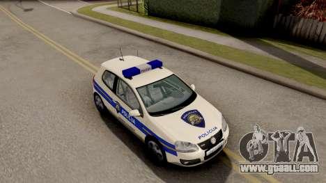 Volkswagen Golf V Croatian Police Car for GTA San Andreas right view