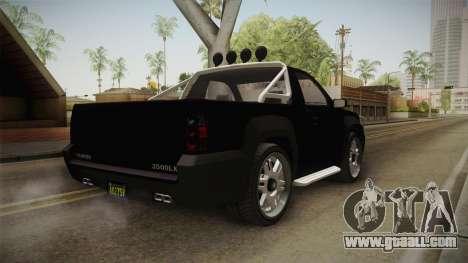 GTA 5 Declasse Granger Pick-Up IVF for GTA San Andreas back left view
