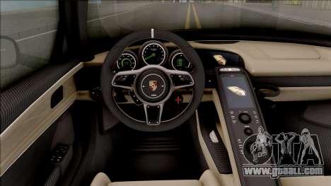Porsche 918 Spyder 2013 for GTA San Andreas back view