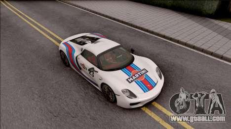 Porsche 918 Spyder 2013 for GTA San Andreas bottom view