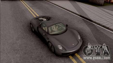 Porsche 918 Spyder 2013 for GTA San Andreas right view