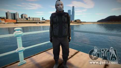 Character from GTA Online in a mask and body arm for GTA San Andreas